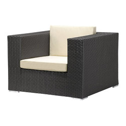 ZUO - Zuo Cartagena Outdoor Arm Chair in Espresso/Beige - Have a compact outdoor space you want to maximize? Love how the Zuo modular pieces fit together? This UV treated, weather resistant outdoor armchair is a smart solution for patio furniture. It's a chair you'll love inside and out!