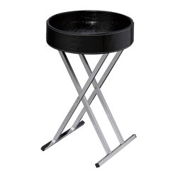 Sterling Industries - Felton Tray Table in Black - Modern design with flexibility. Chrome legs fold for storage and tray top becomes a multi-purpose serving tray.