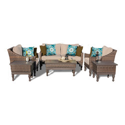 TKC - Soho 6 Piece Outdoor Wicker Patio Furniture Set 06a 2 for 1 Cover Set - Features: