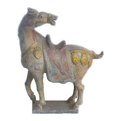 Golden Lotus - Chinese Pottery Clay Ancient Style Horse Figure - This is a hand made oriental ancient style horse figure in vintage finish.
