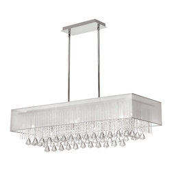 Dainolite - Dainolite JAC3610C-PC-819 10 Light Horizontal Crystal Chandelier Pc Finish White - Dainolite JAC3610C-PC-819 10 Light Horizontal Crystal Chandelier PC Finish White Laminated Organza Shade