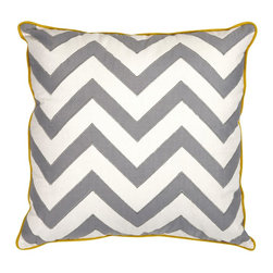 Essentials Chevron Pillow - Mellow Yellow - *With a soft white color and yellow piping, this pillow features an embroidered gray chevron pattern and looks lovely in a variety of color palettes. Essentials by Connie Post