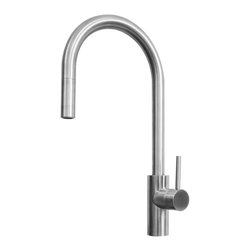 Ukinox - FAL400SS Alton Series Single Handle Kitchen Faucet - This stylish minimalistic single-lever pull-out kitchen faucet is an ideal match for today s stainless steel appliances. The Alton Series FAL400SS single-lever pull-out kitchen faucet is constructed from type 304 stainless steel. This faucet provides a stylish alternative for indoor prep or bar sinks and features an arcing, high spout design. Features: Spout Swivels for Added Convenience. Type 304 stainless steel. Drip Free Ceramic Disc Cartridge. Made in Europe. Specifications: Handle Shape: Lever. Spout Reach: 8 in. Product Weight: 6 lbs. Material: Stainless Steel.