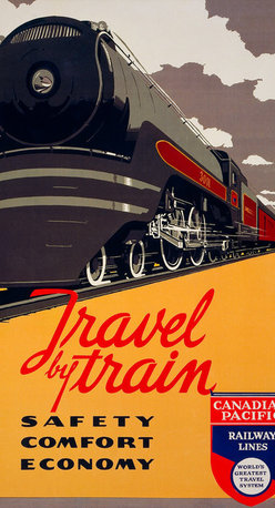 Travel by Train - Safety, Comfort, Economy Print - Travel by train - Safety, comfort, economy Canadian Pacific Railway Lines, world's greatest travel system. By artist Norman Fraser in 1940 as a color lithograph at 91 x 61 cm. Summary: Poster showing a speeding train.
