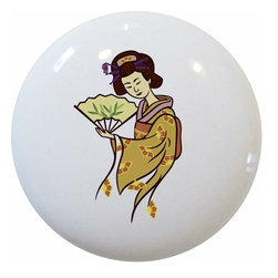 Carolina Hardware and Decor, LLC - Geisha Ceramic Cabinet Drawer Knob - 1 1/2 inch white ceramic knob with one inch mounting hardware included.  Great as a cabinet, drawer, or furniture knob.  Adds a nice finishing touch to any room!