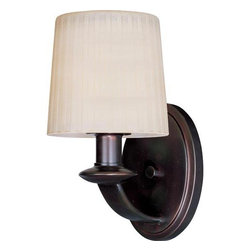 Maxim Lighting International - Finesse Oil Rubbed Bronze One-Light Wall Sconce - The classic Finesse Collection features sweeping oval tube arms that transition to sculptured fonts. The pleated glass shade in Dusty White or Frost shed a warm diffused light. The body is finished in Satin Nickel or Oil Rubbed Bronze. Maxim Lighting International - 21507DWOI