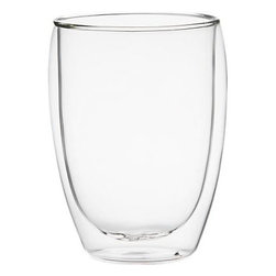 Bodum® Pavina 12 oz. Tumbler - Bodum's unique glass-in-glass technology is re-interpreted in a new rounded shape. Two lightweight layers of glass are blown together to create a vacuum layer of thermal insulation. These glasses keep hot drinks hot and easy to handle, and cold drinks cold without wet condensation. There will be subtle variations due to the handmade nature of these glasses.