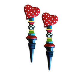 Golden Hill Studio - Metal Heart Stopper Set of 2 - Show how much you love your wine with this colorful bottle stopper. The whimsical heart on top shows how much you care about your chardonnay and want to preserve it.