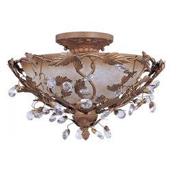 Joshua Marshal - Three Light Etruscan Gold Frosted Ivory Glass Bowl Semi-Flush Mount - Three Light Etruscan Gold Frosted Ivory Glass Bowl Semi-Flush Mount