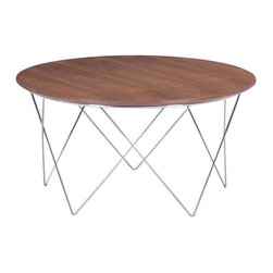 Zuo - Macho Coffee Table - The Macho Coffee Table is as solid as the name suggests. It's natural walnut wood veneer top and solid chromed steel base welcome feet to be propped up after a long day. The Macho Coffee Table's unique table base offers strong geometric lines to your space, while maintaing an airy feel. The symmetry is complimented further by the smooth edges of it's round table top. At almost three feet in diameter, this amply proportioned coffee table is an excellent foundation for your modern seating arrangement.