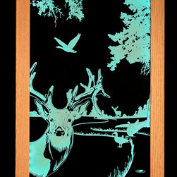 aetist/handmade/custom - Framed Art, Illuminated Art, Deer - Clear acrylic panel that has been carved on the back, illuminated by multi-color LED lights built into the solid oak frame. Includes remote control so you can turn the illumination on and off as well as change the color. Requires 120 volt wall outlet.