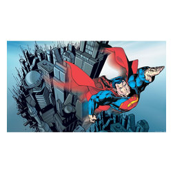 York Wallcoverings - DC Comic Superman Doom Day Giant Wallpaper Accent Mural - Features: