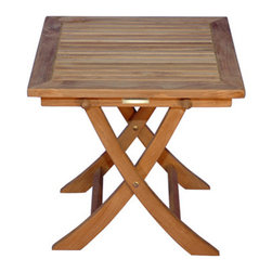 Thos. Baker - rockport folding table - The perfect place for a cool drink or decorative accent, the rockport folding table is a versatile addition to any teak seating arrangement.