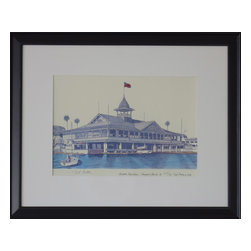 Consigned Watercolor Painting, California Coast, Version 1 - Watercolor Lithograph painting on heavy paper of the Balboa Watercolor Lithograph painting on heavy paper of the Balboa Pavillion, in Newport Beach, California. High quality, limited edition, numbered 349 of 600, 1982.