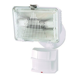 Heath Zenith - Heath Zenith SL-5525-WH-C 1 Light 250-Watt Quartz Halogen Motion Activated Secur - Heath Zenith SL-5525-WH-C 1 Light 250-Watt Quartz Halogen Motion Activated Security Light, WhiteBuilt to be tough and fictional, the Heath Zenith SL-5525-WH features 180 degree motion detection up to 70 foot. Hinged cover provides easy access to bulb while the swivel arm allows the light to be positions exactly where it's needed. Patented DualBrite technology creates ambient light that kicks up to full brightness when motion is detected or can be set to a timer. Uses one 250 watt halogen bulb (included). California Title 24 compliant.Heath Zenith SL-5525-WH-C Features: