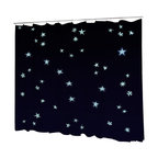 Uneekee - Uneekee Stars Shower Curtain - Your shower will start singing to you and thanking you for such a glorious burst of design as you start your day!  Full printing on the front and white on the back.  Buttonhole openings for shower rings.