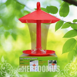 Zenith Innovation - Red Compact Feeder - Compact effort-less bird feeder slides up and down cable for easy re-filling, holds 6 cups of feed, built in feed dam reduces seed waste.