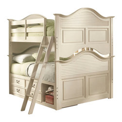 Lea Industries - Lea Retreat White Bunk Bed w/ Storage in Antique White - Full over Full - Bunk Bed w/ Storage in Antique White belongs to Retreat White Collection by Lea The Retreat Collection in Antique White by Lea offers casual cottage style pieces that are perfect for a classic child's room. This collection is designed to bring together the best of country and cottage feel with updated styling. The Antique White finish accents the collection nicely with some distressing and slightly worn edges. This collection features custom dark bronze hardware. All the pieces in this collection are crafted of Solid Hardwoods and painted wood products. The Retreat collection is great for young children to teenagers. It also looks wonderful in second bedroom or vacation homes! With roots that stretch all the way back to 1869, Lea Industries has been adding its signature style and design to homes around the United States for more than a century. Children's furniture makes up the cornerstone of this topnotch manufacturer's lineup, and Lea has always managed to produce functional, modern - yet sophisticated - furniture for children. Furniture that bears the Lea name is always high quality, versatile and attractive.  Captain Bed Box (1), Bed Ends (2), Guard Rails And Ladder (1), Wood Rails (1)
