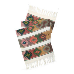 Mayan Table Runners - From San Juan Comalapa, Guatemala, this table runner is hand woven using the ancient artisan technique of backstrap weaving. Featuring a striking Mayan design in neutral tones of green, yellow, pink and blue with an ivory base shade. Each table runner is one of a kind and due to its handmade nature, color patterns and dimensions may vary slightly.