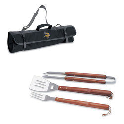 """Picnic Time - Minnesota Vikings 3-pc BBQ Tote in Black - The Metro BBQ Tote stands out among other portable barbecue tool sets. It's a 3-piece BBQ tool set with silicone handles in an attractive black polyester zip-up case with an adjustable shoulder strap to match the handles of the tools inside. It includes three stainless steel tools: 1 large spatula featuring a built-in bottle opener, grill scraper, and serrated edge for cutting (17.5"""") , 1 BBQ fork (17""""), and 1 pair of tongs (16.5""""). All three tools have long handles to keep your hands away from the flames and metal loops at their ends to hang them on your barbecue. Why not add a little color to your day with the Metro BBQ Tote?; Decoration: Digital Print; Includes: 1 (25"""") spatula with built-in bottle opener, 1 (18.75"""") pair of tongs, and 1 (19"""") fork"""