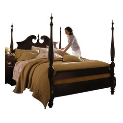 Kincaid - Kincaid Carriage House Solid Wood King Broken Pediment Poster Bed - Fill your master suite with traditional sophistication by bringing the  Broken Pediment Poster Bed from the Carriage House collection into your  home.  Turned posts comfortably soar to a middle-height adding just the  right amount of drama to the overall piece.  The broken pediment  headboard and low-profile double banded footboard offer even more  elegance that is sure to make a striking statement amongst any existing  decor.  Create a relaxation sanctuary in your master suite with the  Broken Pediment Poster Bed.