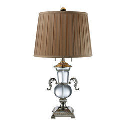 Dimond Lighting - Dimond Lighting D1810 Raven 2 Light Table Lamps in Clear Crystal And Polished Ni - Raven 2 Light Table Lamp in Clear Crystal and Polished Nickel with Taupe White Faux Silk Shade and Cream Liner, Solid Brass Construction