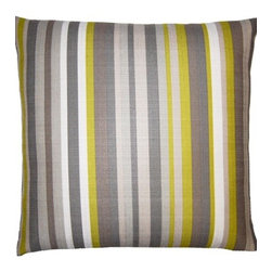 "Squarefeathers - Flint Pillow, Stripes Pillow - The ""Flint"" collection can be a fun addition to any room in your house. Exhibiting amusing patterns and colors. The pillow has a faux linen print design. The back is a faux grey linen and has a knife edge trim. It has a soft and pump feataher/down insert inclosed with a zipper. Like all of our products, this pillow is handmade, made to order exclusively in our studio right here in the USA."