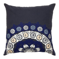 Spring & Spruce - Adonis Pillow- Navy - Our artists in India are incredibly talented in their ability to create intricate embroidery, and our Adonis pillow is a great example of what they can do.  Bright yarn is stitched in spiraling patterns onto a dark navy cotton slip, with an asymmetric design allowing for a different look depending on which side of the pillow you think is the top!