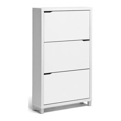Wholesale Interiors - Modern Simms Shoe Cabinet - Three storage compartments