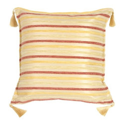 Pillow Decor - Pillow Decor - Chenille Stripes in Rose, Gold and Cream Throw Pillow - Against a background of soft champagne gold, contrasting chenille stripes in deep rose, soft gold and cream add texture and life to the fabric. Tassels in a soft silky gold bring a soft touch to each corner. Wonderful when mixed in with floral or textured fabrics in coordinating colors. Versatile stripes that will work in every room of your home!