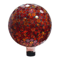 "Alpine Corporation - 10"" Mosaic Gazing Ball - Red/Yellow - This mosaic gazing globe utilizes individually hand-blown glass pieces creating a beautiful array of golds and reds along with other colors, making a great addition to any garden area. Place a gazing ball among your perennials, near the rose bushes, or at the end of a pathway. Stand not included."