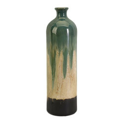 IMAX Worldwide Home - Lorant Large Vase - Material: 100% Ceramics. 20 in. H x 5.75 in. W x 5.75 in. D. Weight: 3.03 lbs.An unusual shape and distinctive finish give this ceramic vase a one-of-a-kind, artisan look. For a coordinated look purchase matching vases.