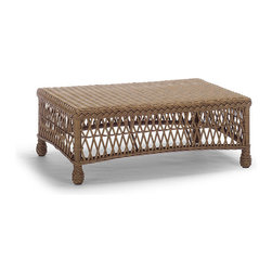Frontgate - Hampton Outdoor Coffee Table - Handwoven premium resin wicker. UV-protected, antimicrobial. Rust-resistant powdercoated frame. Our Hampton Coffee Table has a relaxed, southern attitude, intricately handwoven in driftwood-weathered resin wicker. Vases of flowers and beverages balance perfectly atop the smoothly woven wicker top.Part of the Hampton Collection.  .  . .