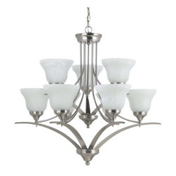 Sea Gull Lighting Brockton Fluorescent 9-Light Chandelier - 33W in. Brushed Nick - If there's a better way to illuminate your space than the Sea Gull Lighting Brockton Fluorescent 9-Light Chandelier - 33W in. Brushed Nickel please invite us over so we can enjoy it. Until then we think you'll love how this ENERGY STAR-rated fixture can create a whole room's worth of warm inviting light. The elegantly modern style takes advantage of the angular nickel-finished body and nine upward-facing shades of alabaster glass. 36 inches of hanging chain and 120 inches of lead wire let you find the best location and height for this stunning and efficient fixture.