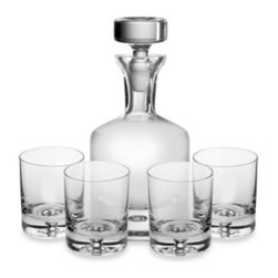 Ravenscroft - Ravenscroft  Crystal Decanter 5-Piece Set - Handcrafted in Europe, this beautiful, lead-free crystal decanter set captures the essence of a traditional round bottle, with a narrow neck and a round stopper.