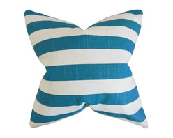"""The Pillow Collection - Ilaam Stripes Pillow, Blue 18"""" x 18"""" - This wonderful pillow lends a pop of color to any room."""