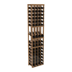 4 Column Display Row Wine Cellar Kit in Redwood with Oak Stain + Satin Finish - Make your best vintage the focal point of your wine cellar. Four of your best bottles are presented at 30° angles on a high-reveal display. Our wine cellar kits are constructed to industry-leading standards. You'll be satisfied with the quality. We guarantee it.
