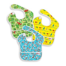 Bumkins - Bumkins Dr. Seuss Bibs (Set of 3) - Colorful bibs featuring assorted prints from Dr. Seuss bring fun and excitement to mealtime. Unlike vinyl bibs, this set of three bibs are made of lightweight yet durable fabric that stays bright and will never crack.