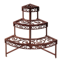 Quarter Round Etagère - Now you'll never run out of space for your flowers and plants. The elegant scrollwork on this étagère lends to a rustic charm for display.
