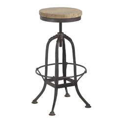 Wrought Iron Counter Stool - Industrial yet curvy, this stool could easily stand alone as a decorative piece at a counter or bar.