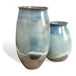 Interlude - Oslo Urns - Set of two urns in reactive glaze oslo blue finish.