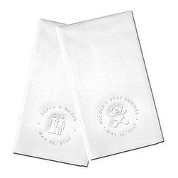 """Guest Towels - Each set includes 50 personalized """"Linen-Like"""" guest towels, blind embossed (no ink) with your choice of motif (icon) in the center and your personalization around the circle as shown.  Personalization around the circle in upper case letters only."""