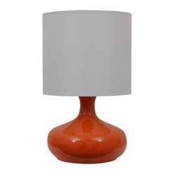 Gourd-shaped Lamp with Shade, Orange