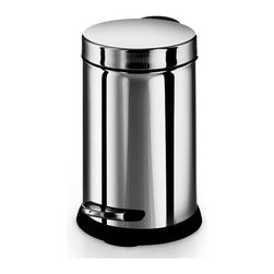 WS Bath Collections - Otel Treadle Trash Bin w Foot Pedal and Extra - Made by Lineabeta of Italy. Product Material: Stainless Steel. Finish/Color: Silver. Dimensions: 7.3 in. Diameter x 10.8 in. H