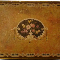 Floral Tin Box - Nice ample-size tin box with a lovely muted-gold color.  It is gently worn -- with some aged scratches that do not detract from its beauty.