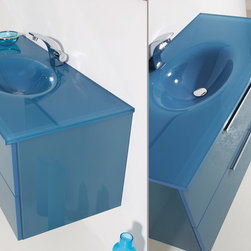 Topex Design Aqua Collection - Blue Glass wall hung vanity.