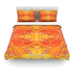 "Kess InHouse - Nikposium ""Sunrise"" Orange Gold Cotton Duvet Cover (Queen, 88"" x 88"") - Rest in comfort among this artistically inclined cotton blend duvet cover. This duvet cover is as light as a feather! You will be sure to be the envy of all of your guests with this aesthetically pleasing duvet. We highly recommend washing this as many times as you like as this material will not fade or lose comfort. Cotton blended, this duvet cover is not only beautiful and artistic but can be used year round with a duvet insert! Add our cotton shams to make your bed complete and looking stylish and artistic! Pillowcases not included."
