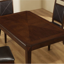 None - Brown Oak Veneer Dining Table - This dining table offers rich design and transitional styling that invites a relaxed setting into your home. Finished in a distressed,brown oak veneer with thick tapered legs,this rectangular dining table will create the perfect look.