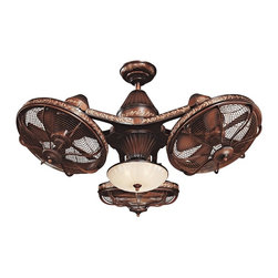 "Casa Vieja - Traditional 38"" Esquire™ Rich Bronze Finish 3-Head Ceiling Fan - Outstanding versatility meets traditional elegance in the head-turning Esquire ceiling fan. A rich antiqued bronze finish is embellished with golden detail for a traditional retro look. Each 16"" fan head may be adjusted individually to get the perfect airflow in any room. A hand-held remote control is included with separate light and fan control options. This fixture is ideal for a restaurant bar pub or anywhere you like. Rich bronze finish with antiqued look. Gold detail. Includes bowl light kit with frosted glass. Includes three 40 watt candelabra bulbs. Cap is included for non-light use. Each 16"" fan head has five metal blades. Includes 6"" downrod. Remote control included with on/off light control. 38"" wide from fan head to fan head. 21"" high. Not suitable for sloped ceiling applications. Special installation required.  Rich bronze finish with antiqued look.  Gold detail.  Includes bowl light kit with frosted glass.  Includes three 40 watt candelabra bulbs.  Cap is included for non-light use.  Each 16"" fan head has five ABS blades.  Fan height 27"" from ceiling to bottom of the light kit (with 6"" downrod).  Fan height 21 1/2"" ceiling to blade (with 6"" downrod).  38"" wide from fan head to fan head.  Net weight 55 lbs.  Remote control included with on/off light control.  Minimum 9' ceiling required.  Not suitable for sloped ceiling applications.  Canopy 6 3/4"" wide and 2 1/4"" long.  6"" downrod included."