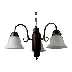 Yosemite Home Decor - Manzanita Dark Brown Three-Light Chandelier - The Manzanita chandelier collection, by Yosemite Home Decor, embodies the aesthetic features of contemporary artistry.  This model's Dark Brown frame and Frosted Marble glass blend in very well with contemporary architectural design, while its three 60-watt incandescent lights easily provide crisp, clean illumination to a small room, or a nook, or over the dining room table.  UL-approved, you can rest assured this model is safe for use in your home.  With its one-year warranty, we have this product covered during the first year.  Each sale comes with about six feet of chain and eight feet of wire. Located in Fresno, California, Yosemite Home Decor is a premier leader in lighting and other unique home products. Yosemite Home Decor - 1433-3DB